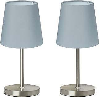 """Trango 2 pack lampe de table Lampe de chevet lampe de bureau Lampe""""Gray"""" avec abat-jour en tissu gris 2TG2017-08G - Ø 170 ..."""