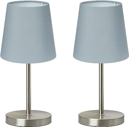 """Trango 2 pacchi lampada da tavolo, lampada da comodino, lampada da tavolo""""Greynie"""" con paralume in tessuto in grigio 2TG2017-08G - Ø 170 mm, altezza: 350 mm"""