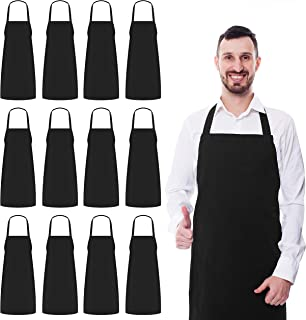 Utopia Kitchen Bib Aprons Bulk, 12 Pack Aprons, Black