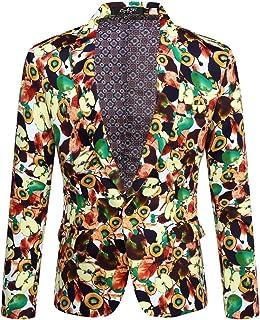 CARFFIV Men's Plus Size Fashion Casual Print Suit Jacket Blazer