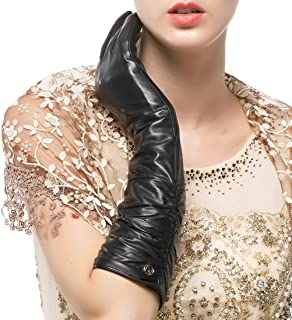 Women's Winter Long Leather Gloves Genuine Nappa Leather Touchscreen Ruched Elbow Party Mittens