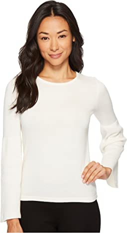 Vince Camuto Specialty Size - Petite Ribbed Bell Sleeve Crew Neck Sweater