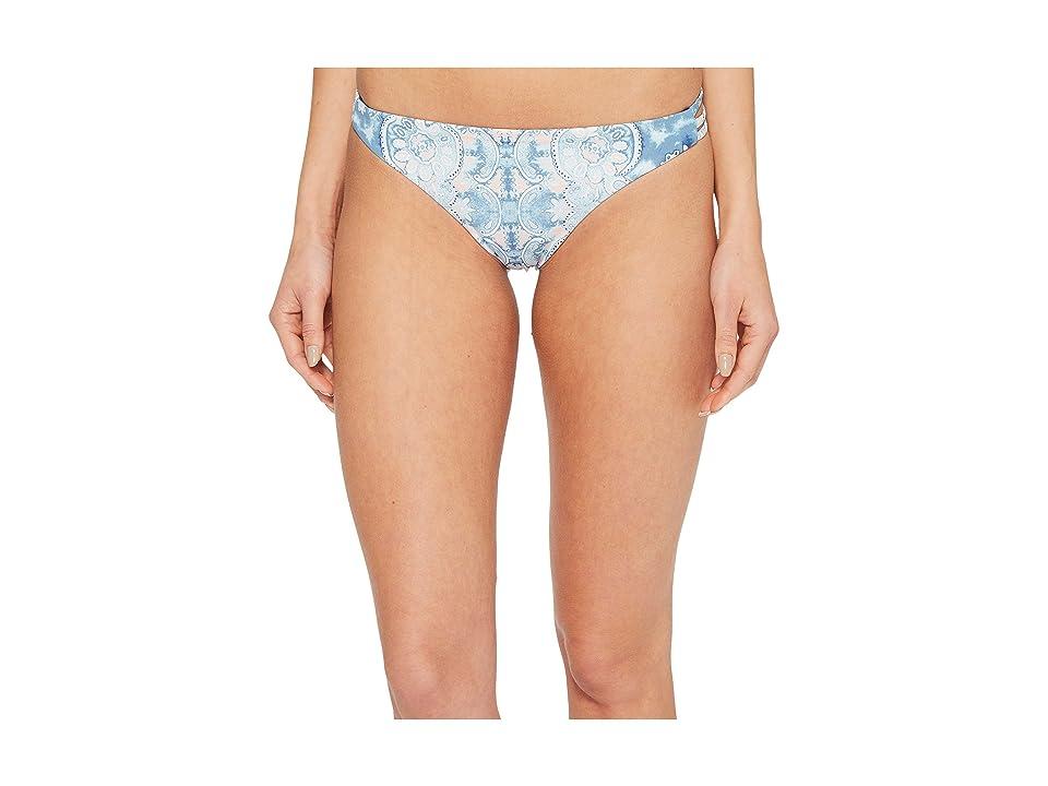 Roxy Softly Love Print Reversible Surfer Bikini Bottom (Marshmallow Miami On Sunset) Women
