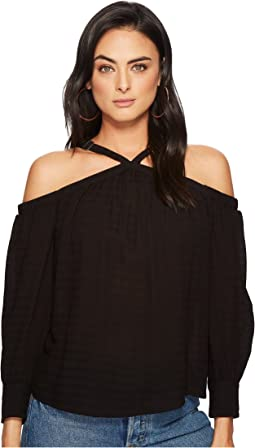 1.STATE - High Neck Cold Shoulder Blouson Blouse