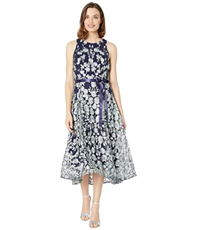 Tahari by ASL Flare Skirt Party Dress (Navy Mint Floral) Women