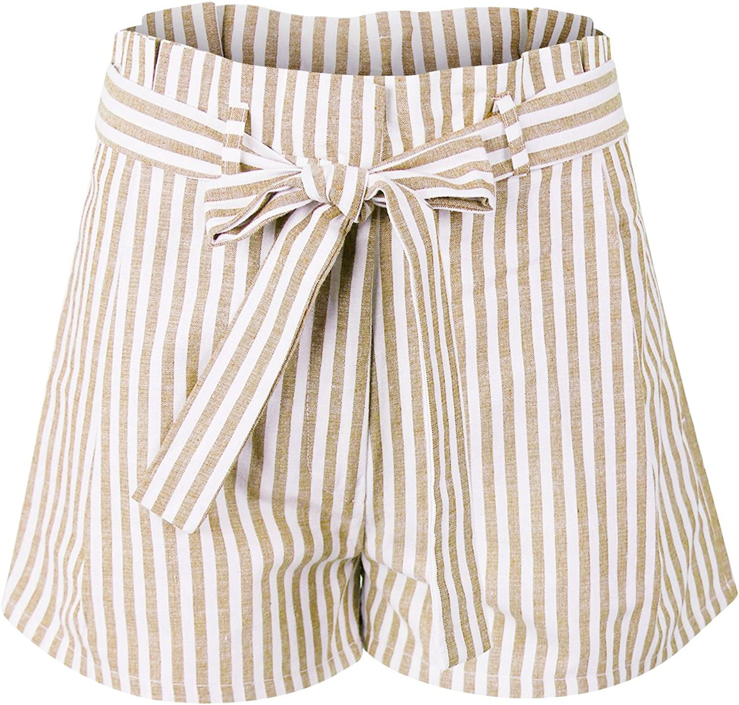 Makeitmint Women's Stripe Pleated Summer Pant Pocket Shorts w Tie Belt
