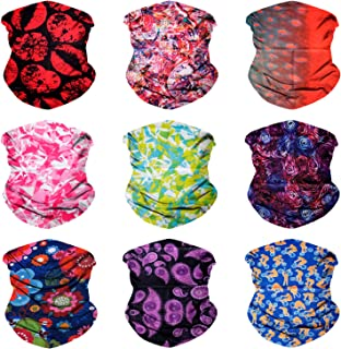 Sojourner 9PCS Seamless Bandanas Face Mask Headband Scarf Headwrap Neckwarmer & More – 12-in-1 Multifunctional for Music Festivals, Raves, Riding, Outdoors