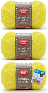 Red Heart Scrubby Sparkle Yarn - Lemon - 3 Pack Bundle with Bella's Crafts Stitch Markers