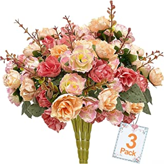 TURNMEON 3 Bundles Rose Artificial Flower Bouquets Fake Rose Flowers for Home Decor, Bridal Wedding Bouquet Silk Flowers Fake Flowers for Home Garden Hotel Office Decorations (Pink)