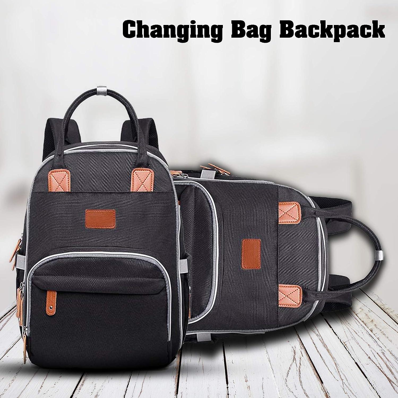 mochila para maternidad y hospital negro negro Bolso cambiador de beb/é para mam/á y pap/á mochila para pa/ñales con cambiador