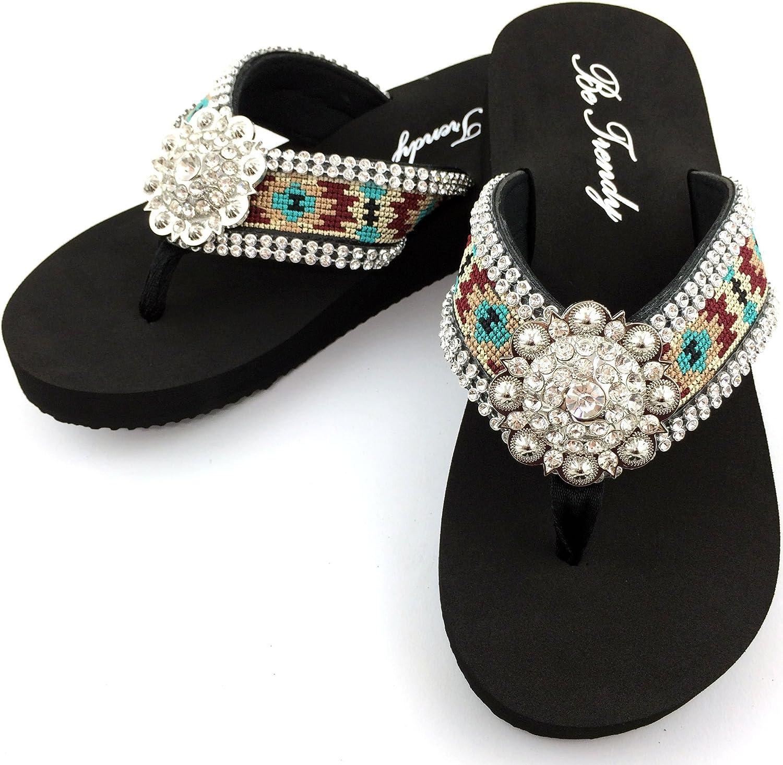 Western Peak Women's Aztec Tribal Design Full Rhinestones Round Concho Maroon Turquoise Beige Flip Flop Sandals