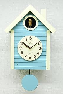 さんてる(Suntel) 掛け時計 アクアブルー 405×240×140mm 国産 手作り 鳩時計 北欧カラー アクアブルー SQ03AB