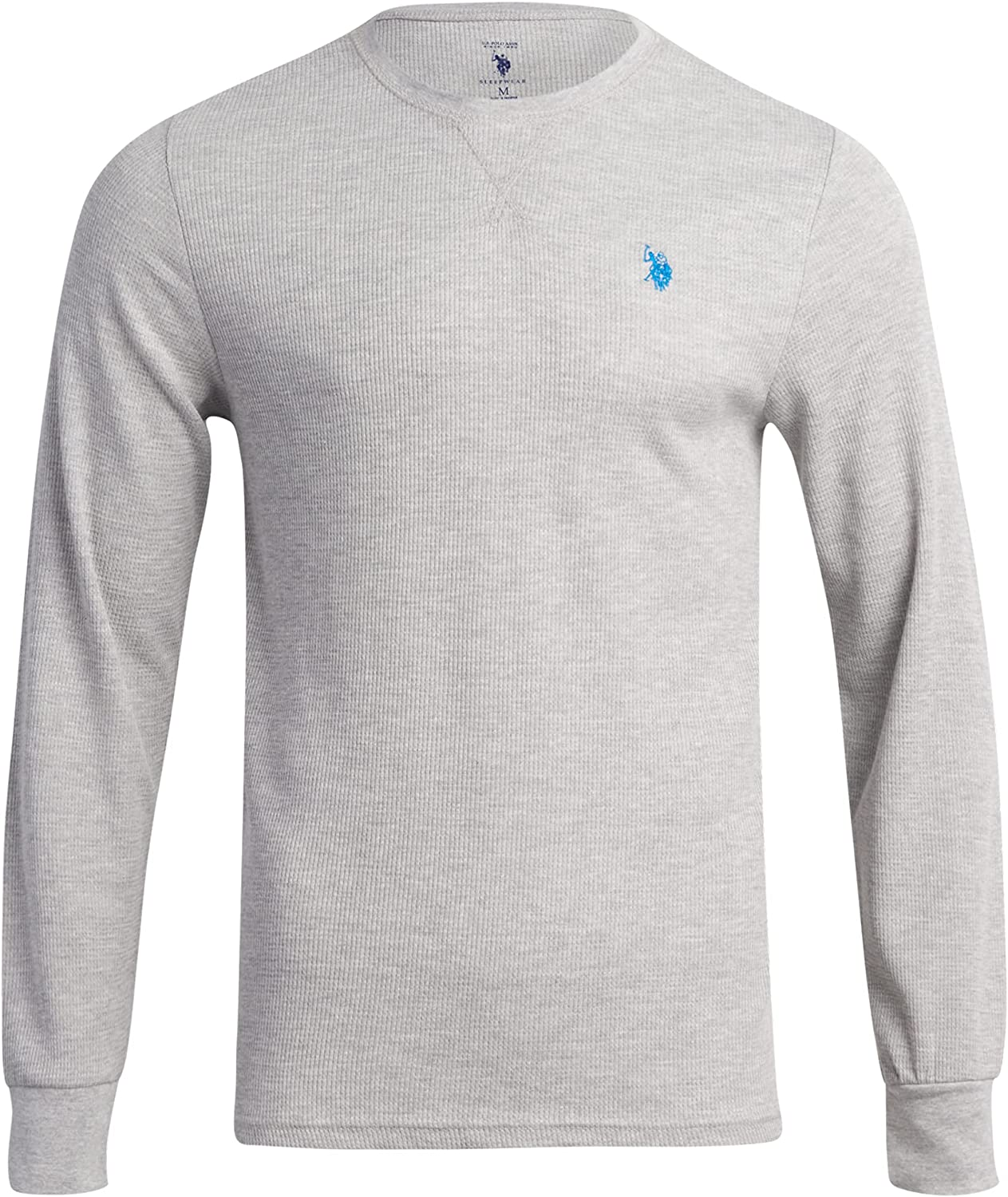 U.S. Polo Assn. Men?s Thermal Shirt ? Long Sleeve Waffle Knit Top, Size X-Large, Heather Grey