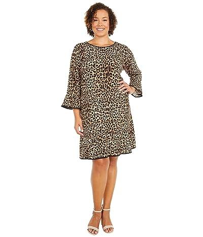 MICHAEL Michael Kors Plus Size Cheetah Flounce Dress (Dark Camel) Women