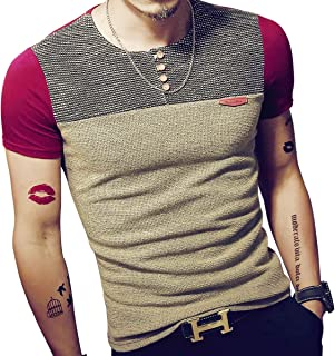 LOGEEYAR Mens Summer Slim Fitted Casual Short-Sleeve Button T-Shirts Contrast Color Stitching Tee