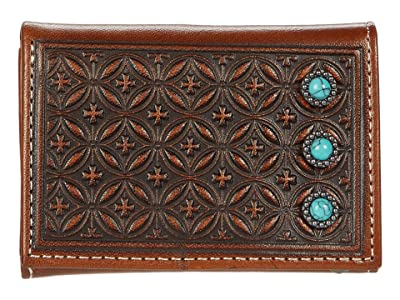 M&F Western Diamond Embossed Turquoise Stone Trifold Wallet (Tan) Handbags