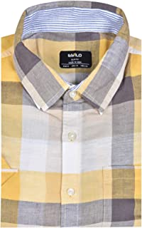 ESTILO Cotton Linen Shirts for Men Yellow Checks
