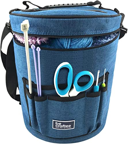 BeCraftee Yarn Bag/Knitting Bag. Portable, Light and Easy to Carry. Yarn Storage Bags Have Pockets for Crochet Hooks ...