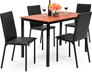Best Choice Products 5-Piece Rectangle Dining Table Home Furniture Set w/ 4 Faux Leather Chairs