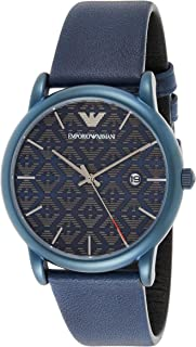 Emporio Armani Men's Blue Dial Leather Analog Watch - AR11304