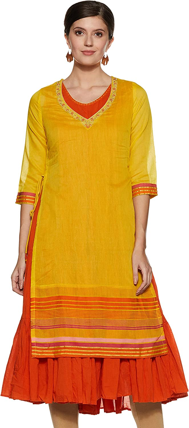 Yellow & orange Poly Cotton Flared Kurta