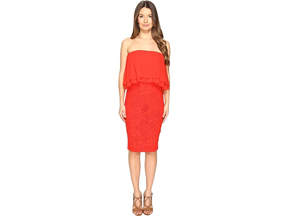 FUZZI Strapeless Dress with Ruffle Detail Top (Red Flame) Women