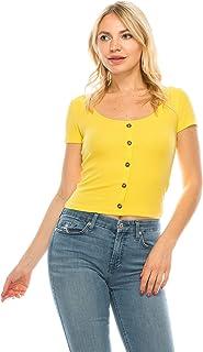 Khanomak Women's Button Front Scoop Neck Ribbed Short Sleeve Crop Top T-Shirt