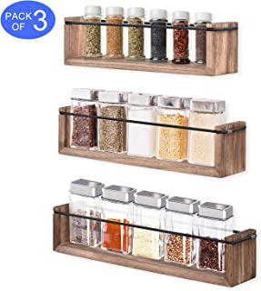 Olakee Spice Rack Wall Mounted Wood Spice Rack Organizer with Spring Rubber Band for Vary Size Spice at Kitchen Cabinet, Cupboard or Pantry Door Set of 3