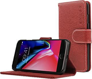 Snugg iPhone 7 and 8 Case Apple iPhone Flip [Card Slots] Leather Wallet Cover Design in Dusty Cedar Red, Legacy Range