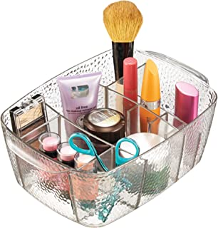 InterDesign Rain Portable Cosmetic Organizer Bin for Vanity Cabinet to Hold Makeup, Beauty Products - Clear Off-White 51150