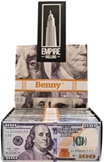Empire Rolling - 24 Wallets $100 Bill Rolling Paper (480 Papers) - Benny 1 3/4 Inches   Made from Pure All Natural Ingredients   Premium Quality Paper, Organic, 100% Vegan, Non-GMO, Unbleached
