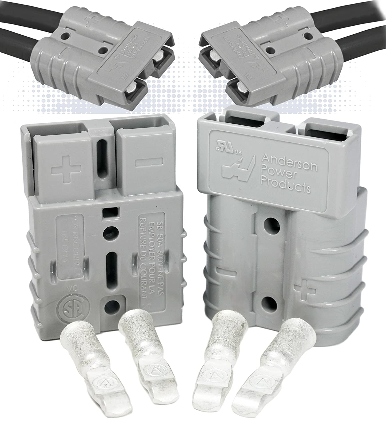 Anderson SB50 Connector Kit Award 50 Amps w Gray Housing 36V AWG Baltimore Mall 8