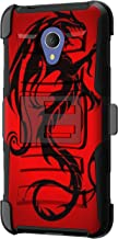 TurtleArmor | Compatible with Alcatel 1X Evolve Case | IdealXtra Case | TCL LX Case [Hyper Shock] Hybrid Dual Layer Armor Holster Belt Clip Case Kickstand - Red Dragon
