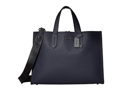 COACH Charlie Brief with Signature Blocking (JI/Midnight Navy/Charcoal) Briefcase Bags