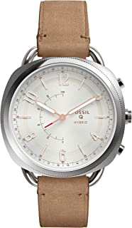 Fossil Women's Accomplice Stainless Steel and Leather Hybrid Smartwatch, Color: Silver, Brown (Model: FTW1200)