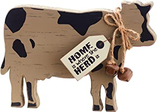 The Lakeside Collection Home Cow Shelf Sitter Sentiment - Farm Animal Wood Block Sign
