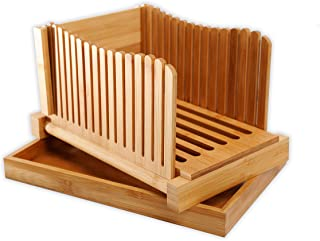 GloBamboo Bamboo Bread Slicer with Cutting Board for Homemade Bread, Adjustable, Compact, Foldable and Customizable Loaf/C...