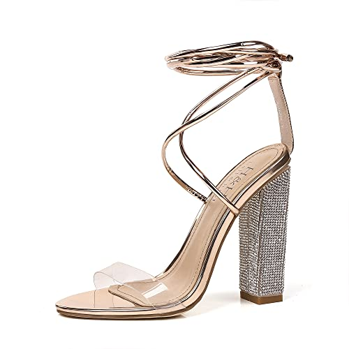 e900ac91ad1cd6 Hell Heel Rose Gold Clear Lace Up Diamante Heeled Sandals US 8 EU 38