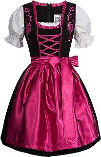 Gaudi-Leathers Damen Dirndl Kleid Dirndlkleid Trachtenkleid Midi schwarz Leuchtend