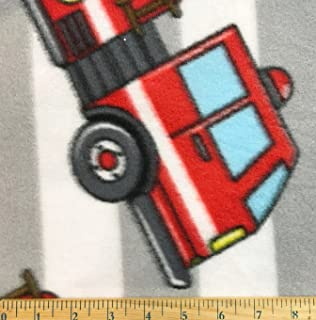 Fire Trucks 1 Yard Tossed on Gray & White Stripe Fleece Fabric (Great for Quilting, Throws, Sewing, Craft Projects, Blankets, and More) 1 Yard x 60