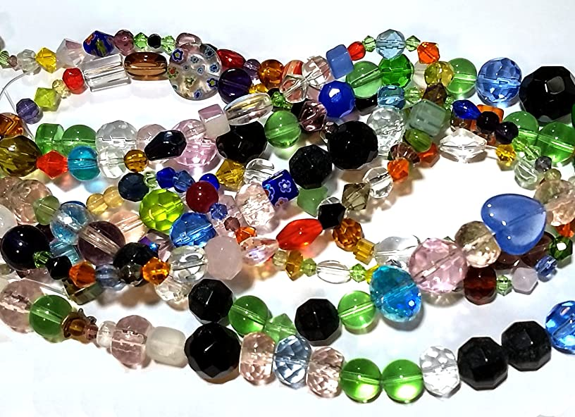 Glass Beads in Bulk 1500+ Mix On 25 Strands Lampwork Millefiori Faceted Cats Eye