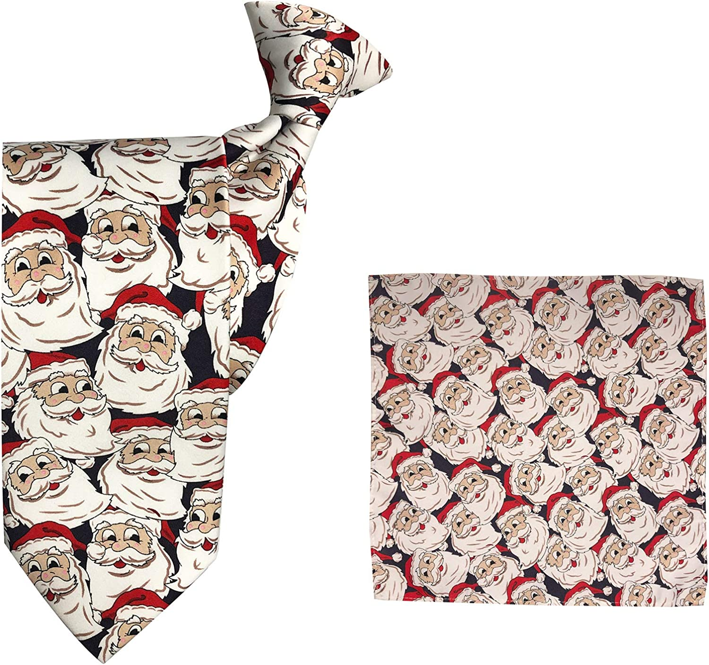Jacob Alexander Men's Jolly Santa Clip-On Extra Long Neck Tie and Pocket Square Set