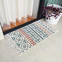 Ukeler Cotton Printed Kilim Porch Rugs Boho Entryway Thin Throw Rug Hand Woven Washable Outdoor Doormats 2'×3'