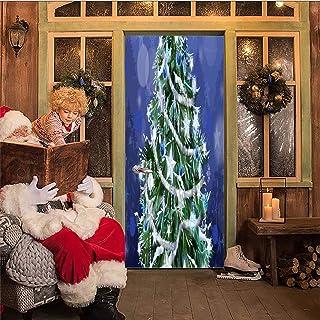 AKSBHC Murale per Porta Personalizzato Rimovibile 3D 95x215CM Cartone Animato Vacanza Albero di Natale Decorazione PVC Aut...