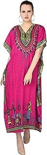 SKAVIJ Women's Tunic Viscose Caftan Floral Print Maxi Dress (Free Size)