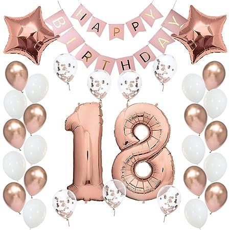 Geburtstagsdeko 18 Rosegold Geburtstag Deko I 18 Geburtstag Mädchen Frauen I Party Deko Luftballons 18 Geburtstag I Happy Birthday Girlande Ballons I Birthday Decorations I Geburtstag Frau Rosé Gold Spielzeug