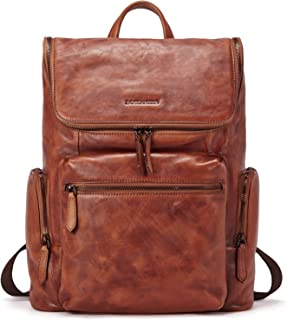 "BOSTANTEN Men Leather Backpack 15.6 inch Vintage Laptop Backpack Travel School Shoulder Bag Brown Brown Brown (L)15.35""inch x (W)4.72""inch x (H)12.59""inch"
