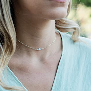 Dainty blue lace agate gemstone choker necklace in 925 sterling silver - 12