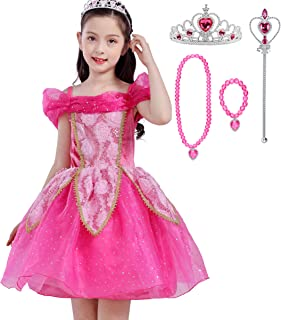 Lito Angels Princess Costumes Dress Halloween Fancy Party Dresses for Little Girls with Accessories Size 7-8 Hot Pink