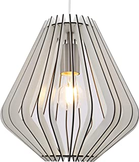 Briloner Leuchten Lámpara colgante, lámpara con listones de madera, lámpara de salón, retro/vintage, colgante, E27, máx. 40W, níquel mate